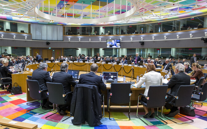 The Justice and Home Affairs Council, one of the configurations of the Council of the EU, being addressed by Minister of the Interior Andres Anvelt (SDE).