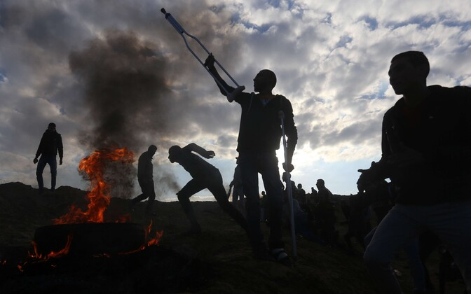 Palestiinlastest meeleavaldajad Gazas.
