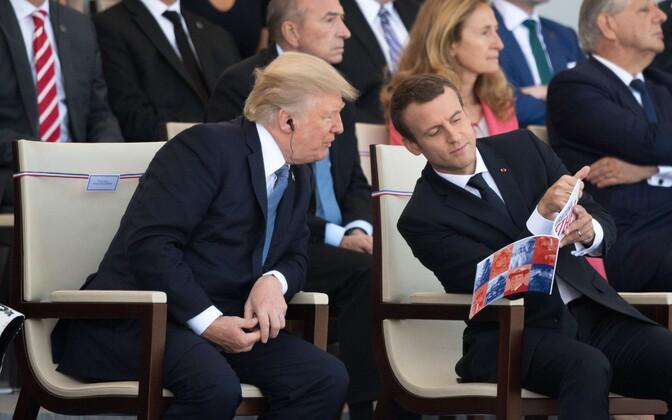 Президент США Дональд Трамп и лидер Франции Эммануэль Макрон.