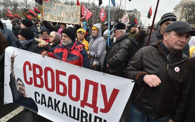 Марш вподдержку Саакашвили вцентре украинской столицы собрал неменее тысячи участников