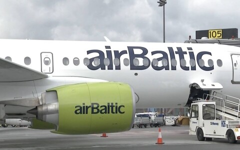 Air Baltic jet at Tallinn Airport.