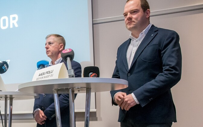 Margus Kohava and Aadu Polli speaking at a press conference pitching Est-For Invest's €1 billion pulp mill plan. Jan. 10, 2017.