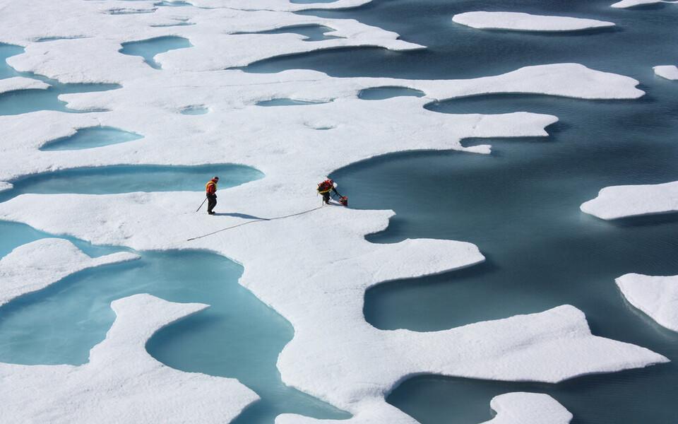 Merejääle tekkinud sulaveetiigid Põhja-Jäämeres.