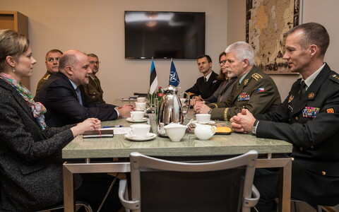 National Defence Committee of the Riigikogu deputy chairman Mart Helme (EKRE) met with NATO Military Committee chairman Gen. Petr Pavel in Tallinn on Thursday. Dec. 14, 2017.