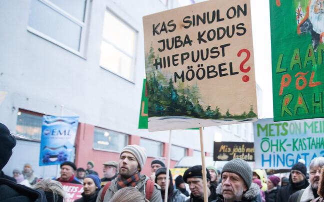 Акция протеста защитников леса в Таллинне.