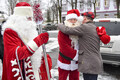 Estonia's Santa Claus and Russia's Ded Moroz met at the border in Narva on Wednesday. Dec. 20, 2017.