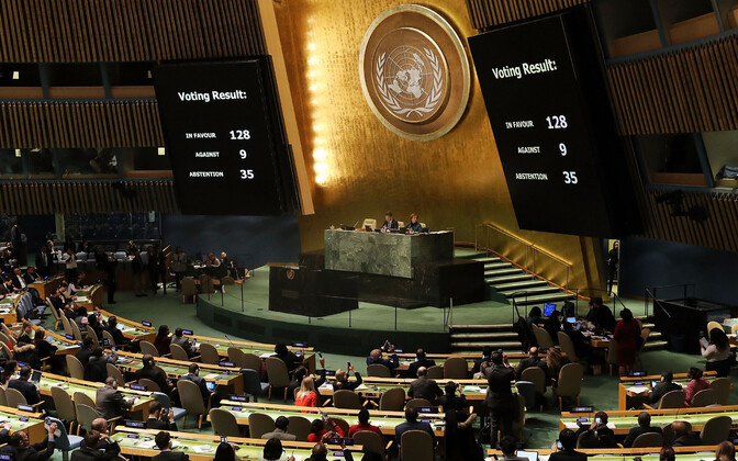 The results of the vote at the extraordinary UN General Assembly on Dec. 21.