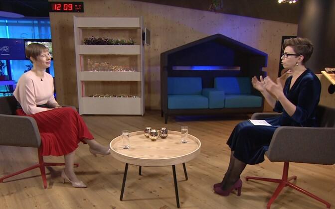 President Kersti Kaljulaid being interviewed by Anu Välba.