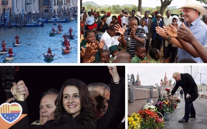 Jõuluvanad Veneetsia kanalil (Reuters/Scanpix), Mugabe ajal ära võetud maa tagasi saanud Zimbabwe farmer Darreyn Smart ja teda tervitama saabunud kohalikud inimesed (Reuters/Scanpix), Kataloonias Hispaania ühtsust toetava erakonna esimest korda esikohale