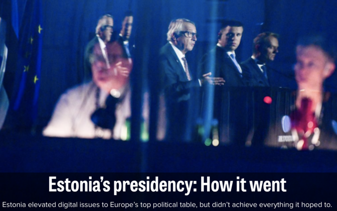 Politico rated Estonia's performance as the presidency of the Council of the EU in the second half of 2017.