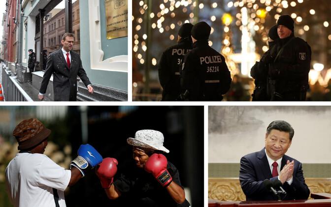 Aleksei Navalnõi Moskvas valimiskomisjoni hoone juures (AFP/Scanpix), Saksa politseinikud Berliinis (AFP/Scanpix), Poksivad LAV-i vanaprouad (Reuters/Scanpix) ja Hiina president Xi Jinping (Reuters/Scanpix).