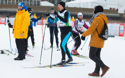 Minister of Culture Indrek Saar (SDE) participating in the enthusiasts' 5k of the Otepää World Cup in skiing. Feb. 19, 2017.