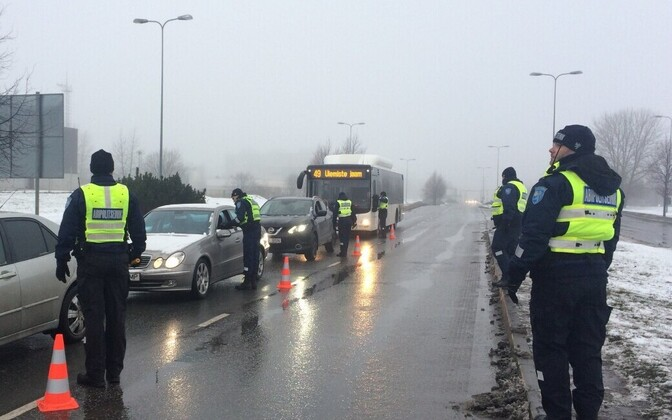 Police at a sobriety checkpoint in Tallinn.