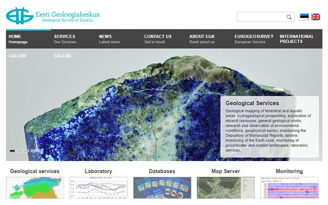 Homepage of the Geological Survey of Estonia (EGK).
