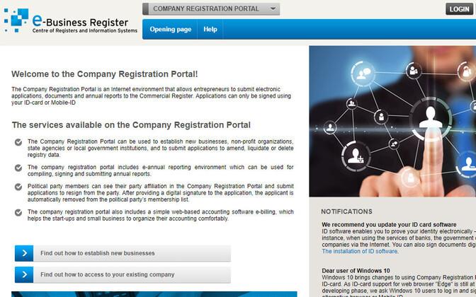 Äriregistri firmade registreerimise portaal.