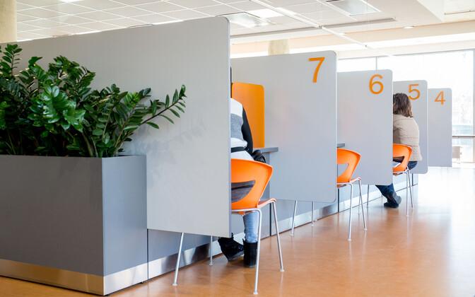 Booths at an EUIF office in Tallinn. April 12, 2016.