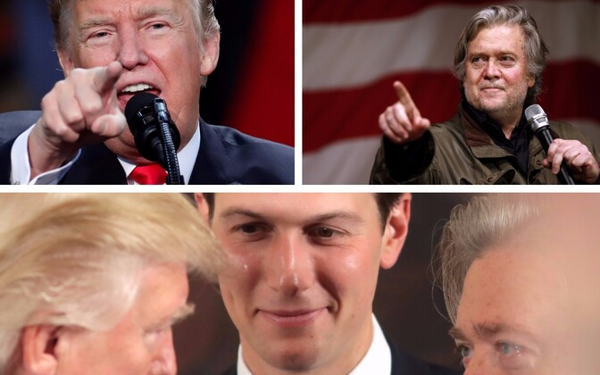 Donald Trump, Steve Bannon ja Jared Kushner.