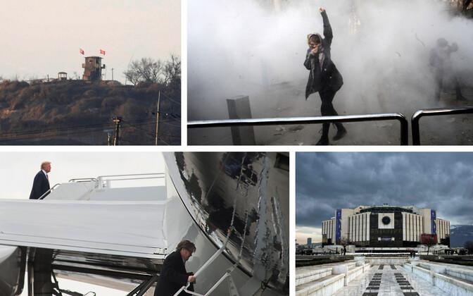 Põhja-Korea piirivalvetorn (Reuters/Scanpix), Iraani valitsuse vastane meeleavaldaja Teheranis (AFP/Scanpix), arhiivifoto, kuidas Trump ja tema nõunik Bannon lennukisse sisenevad (AFP/Scanpix), kultuuripalee Sofias (AFP/Scanpix).