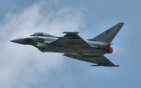 Typhoon fighter jet of the Italian Air Force. Image is illustrative