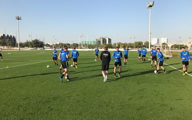 Eesti jalgpallikoondise treening Abu Dhabis
