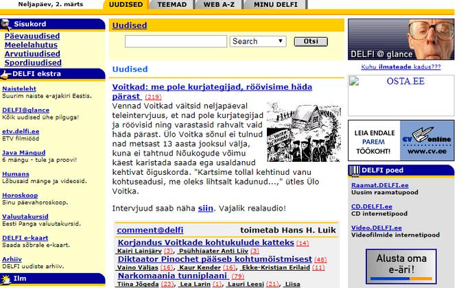 Главная страница Delfi в 2000 году.