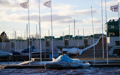 Olümpiatule alus Pirital pärast 7. jaanuari tormi.