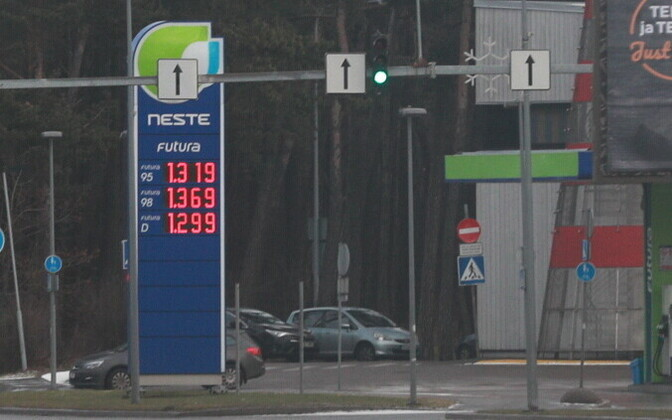 Fuel prices at a Neste gas station, Jan. 9, 2017.