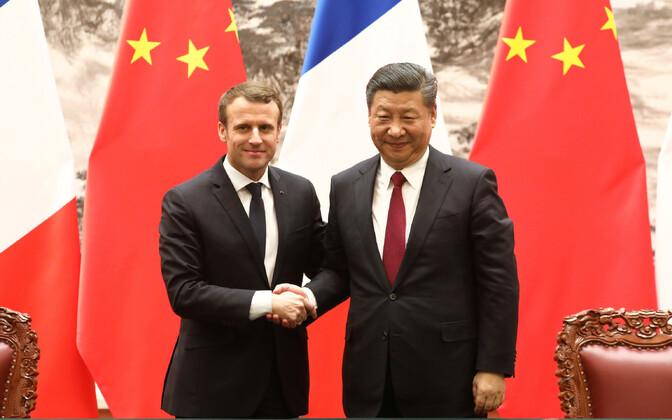 Presidendid Emmanule Macron ja Xi Jinping 9. jaanuaril Pekingis.