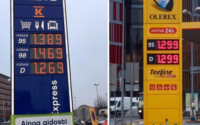 Kütuse hinnad Helsingis (vasakul) ja Tallinnas 10. jaanuari hommikul.