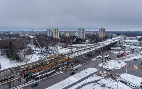 Construction work at the Haabersti intersection on the west side of Tallinn.
