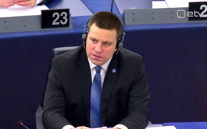 Ratas in the European Parliament in Strasbourg, January 2018.