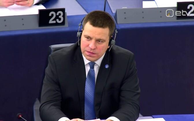Ratas in the European Parliament in Strasbourg, January 2018.