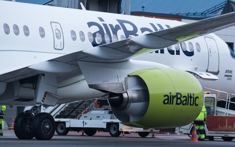 An AirBaltic jet at Tallinn Airport.