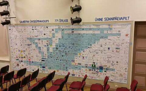 Saaremaa ühisgümnaasiumi 99. sünnipäevaks valminud mahukas kollaaž