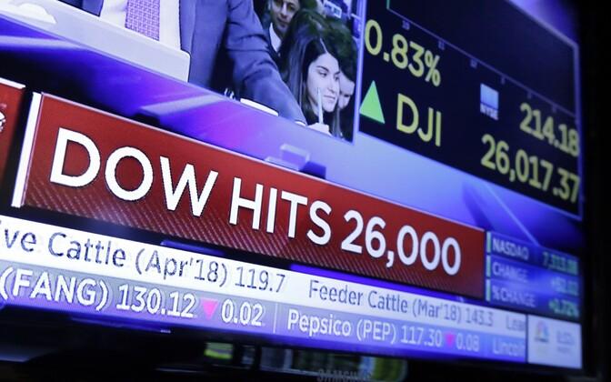 Teleekraan NYSE kauplemispõrandal Dow Jonesi uue rekordi järel.