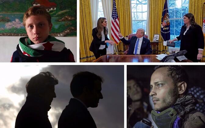 Muhammad Najemi Twitteri-profiil; Hicks, Trump ja Sanders (Reuters); May ja Macron (Reuters) ja Oscar Perez (AFP).