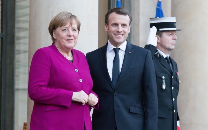 Saksa kantsler Angela Merkel ja Prantsusmaa president Emmanuel Macron Pariisis.