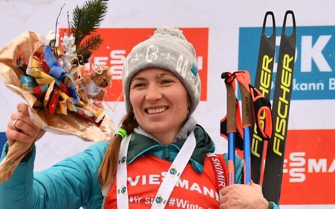 Дарья Домрачева выиграла масс-старт в Антерсельве.
