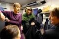 President Kersti Kaljulaid on the train to Narva.