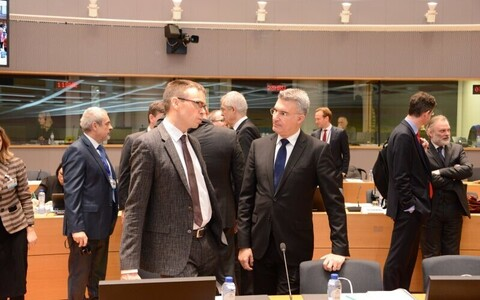 Minister of Foreign Affairs Sven Mikser (left) and Maltese foreign minister Carmelo Abela in Brussels, Jan. 22, 2018.