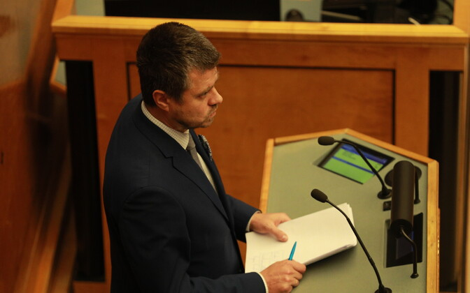 Minister of Justice Urmas Reinsalu (IRL) before facing a vote of no confidence, Jan. 24, 2018.