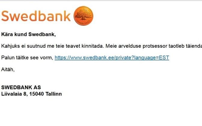 Swedbanki nimel saadetud õngituskiri