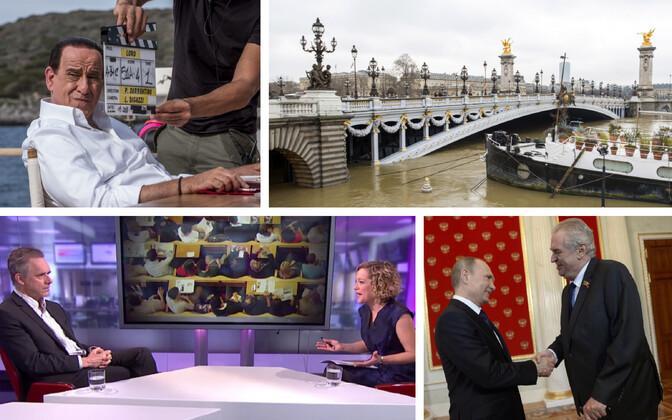 Toni Servillo filmi-Berlusconina (promomaterjalid), veetase Pariisis Seine'i jõel (TASS/Scanpix), Jordan Peterson ja Cathy Newman (Channel 4) ja Tšehhi president 2015. aasta 9. mail Moskvas (TASS/Scanpix).