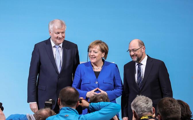 Vasakult: CSU liider Horst Seehofer, CDU juht Angela Merkel ja SPD esimees Martin Schulz.