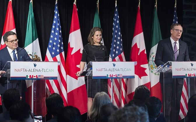 Mehhiko majandusminister Ildefonso Guajardo Villarrea, Kanada välisminister Chrystia Freeland ja USA kaubandusesindaja Robert Lighthizer.