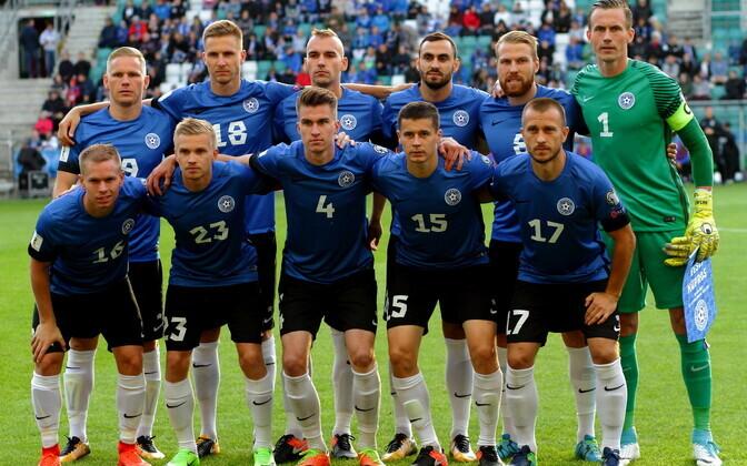 Eesti jalgpallikoondis enne mängu Küprosega.