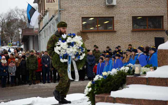 The signing of the Tartu Peace Treaty 98 years ago, in 1920, was commemorated with a ceremony in Põlva on Friday. Feb. 2, 2018.