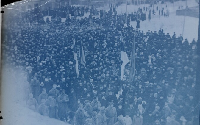 Estonia's declaration of independence celebrated in Pärnu the day after its proclamation the night before. Feb. 24, 1918.