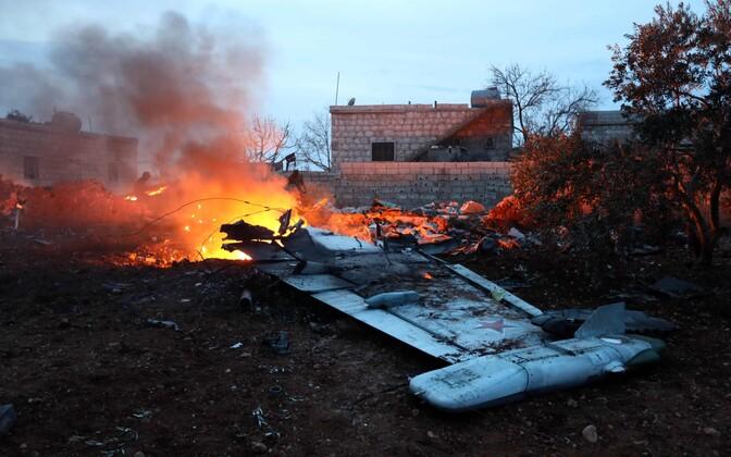 Обломки сбитого в Сирии российского самолета.