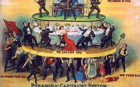 Kui sotsiaalteadlased on klassid avalikes mõttevahetustes kõrvale jätnud, siis poliitikute seas on asjad võtnud omapärase pöörde, kus populismiga võitlemise sildi all propageeritakse elitismi. 1911. aasta Ameerika karikatuur.